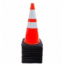 28 Inch Safety Traffic PVC Cones - 2 Reflective Collars - Set of 5