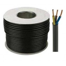 3 Core 2.5mm Round Black Mains Electrical Cable Flex - 100 Meters